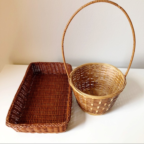 2 Vintage Woven Wicker Baskets, 1 with handle
